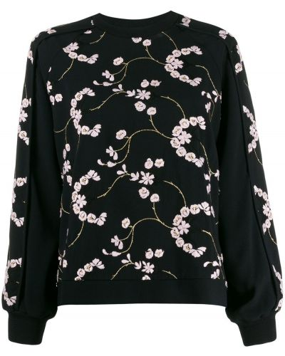 Толстовка с цветочным принтом черная Giambattista Valli
