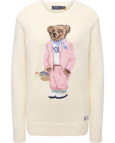 Хлопковый бежевый свитер Polo Ralph Lauren