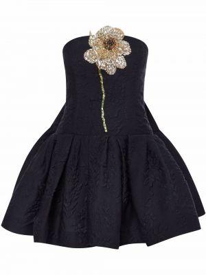 Шелковое платье мини - черное Oscar De La Renta
