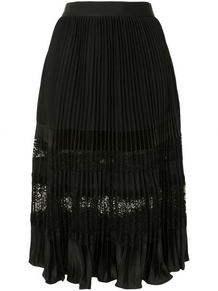 Плиссированная черная с завышенной талией юбка миди с оборками Edward Achour Paris