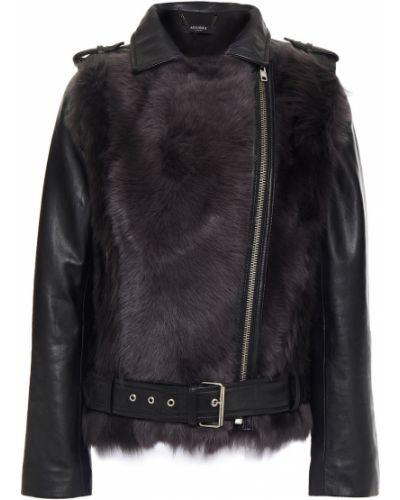 Черная кожаная куртка с подкладкой Muubaa