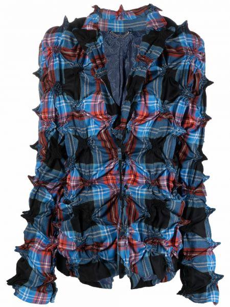 Шерстяной синий удлиненный пиджак в клетку Charles Jeffrey Loverboy