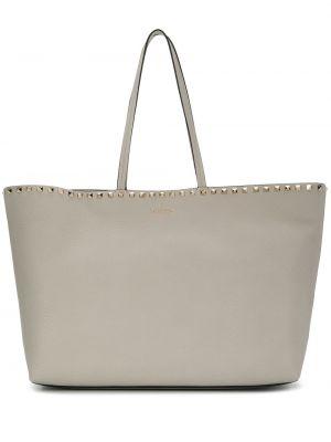 Серая сумка-тоут круглая на молнии с декоративной отделкой Valentino