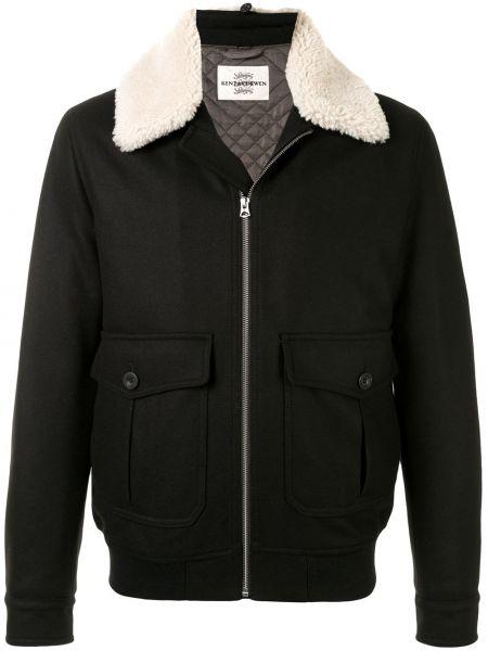 Klasyczna czarna długa kurtka wełniana Kent & Curwen