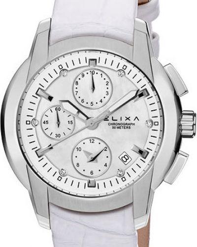 Часы на кожаном ремешке кварцевые водонепроницаемые Elixa