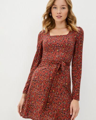 Прямое коричневое платье Trendyol