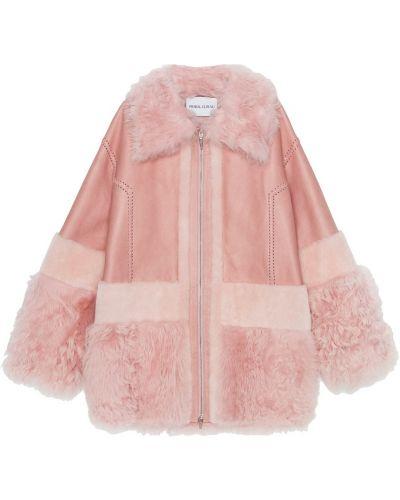 Розовое шерстяное пальто с воротником Prabal Gurung