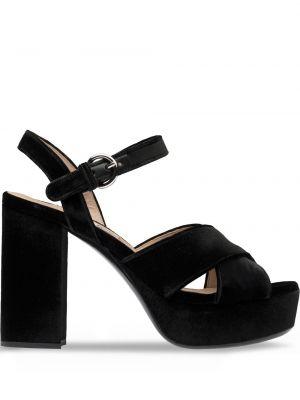 Z paskiem czarny sandały z klamrą z prawdziwej skóry Miu Miu