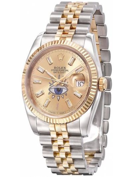 Золотистые желтые часы круглые с бриллиантом Jacquie Aiche
