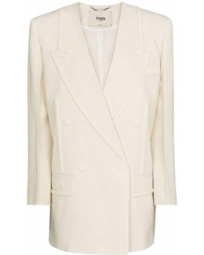 Льняной белый пиджак двубортный Fendi