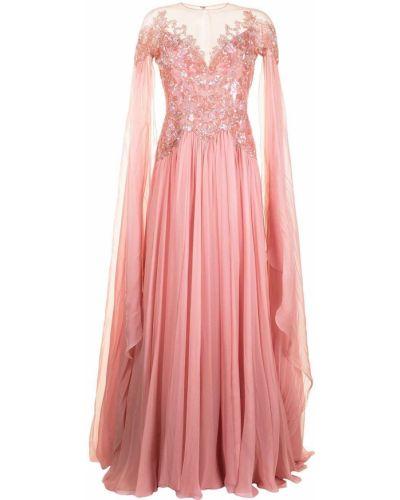 Шелковое розовое платье макси с вырезом Zuhair Murad