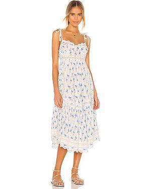 Хлопковое белое платье миди на молнии с подкладкой Loveshackfancy