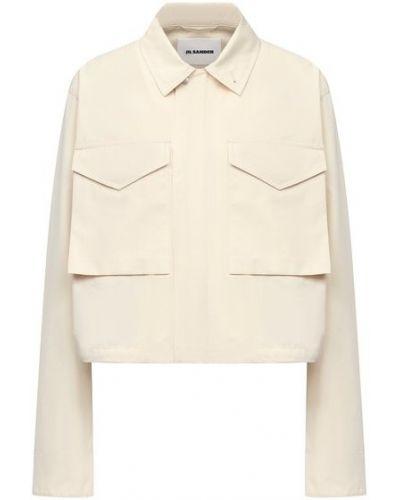 Хлопковая бежевая блузка Jil Sander