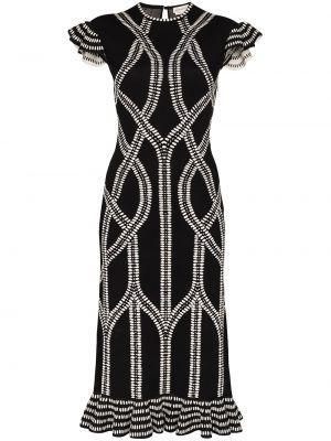 Черное платье миди с оборками с вырезом с короткими рукавами Alexander Mcqueen