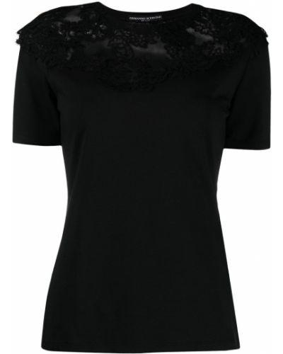 Хлопковая прямая черная футболка Ermanno Scervino