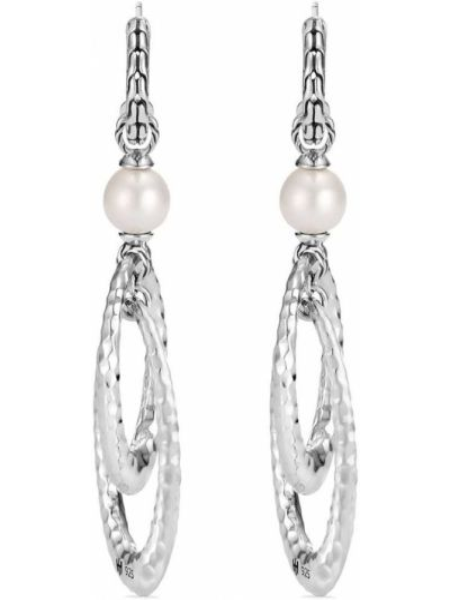 Białe kolczyki sztyfty srebrne perły John Hardy