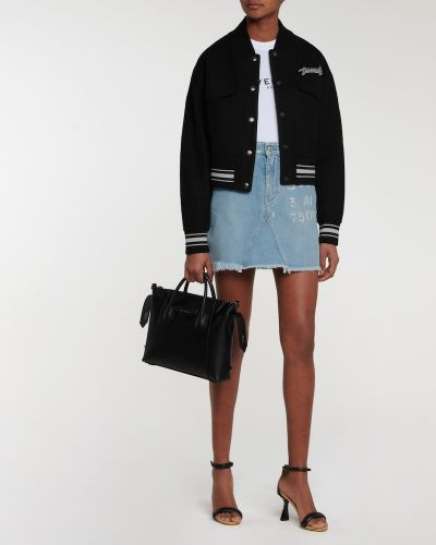 Czarna kurtka wełniana z haftem Givenchy