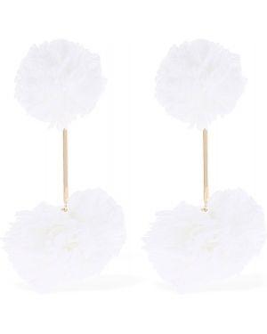 Białe kolczyki sztyfty koronkowe sznurowane Tuleste