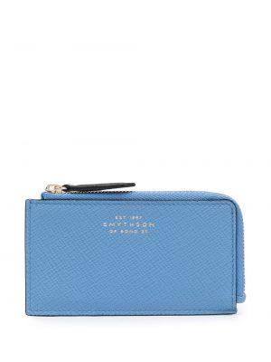 Niebieski portfel z printem Smythson