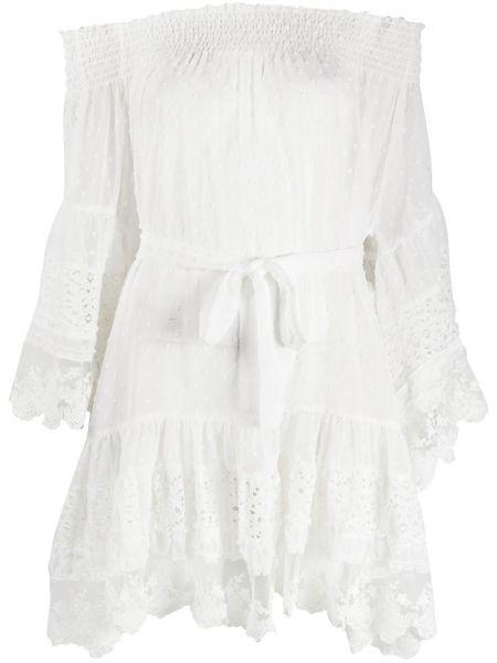 Белое ажурное платье с рукавами с открытыми плечами со вставками Melissa Odabash