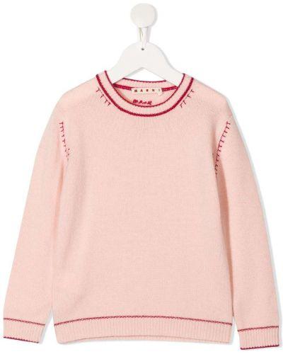 С рукавами кашемировый прямой розовый джемпер Marni Kids