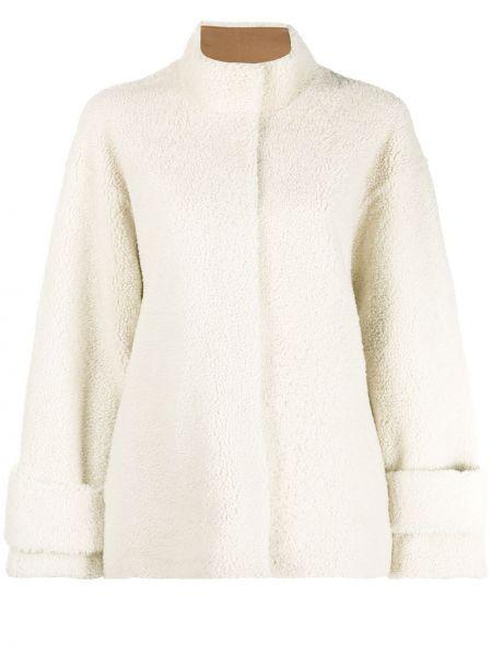 Однобортное кожаное длинная куртка с воротником Liska