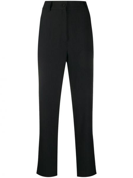 Черные прямые брюки с воротником с поясом Hebe Studio