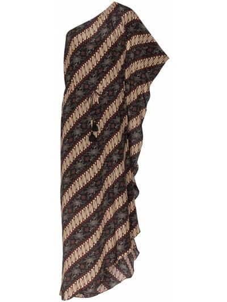 Czarna sukienka asymetryczna w paski Figue