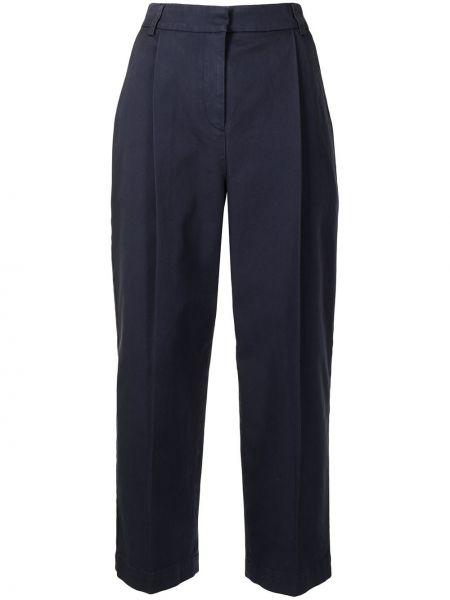 Niebieskie spodnie z wysokim stanem z paskiem Ymc