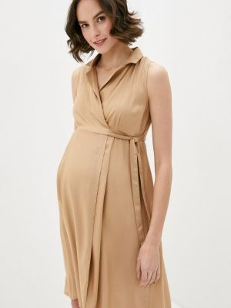 Платье для беременных с запахом бежевое Mama.licious