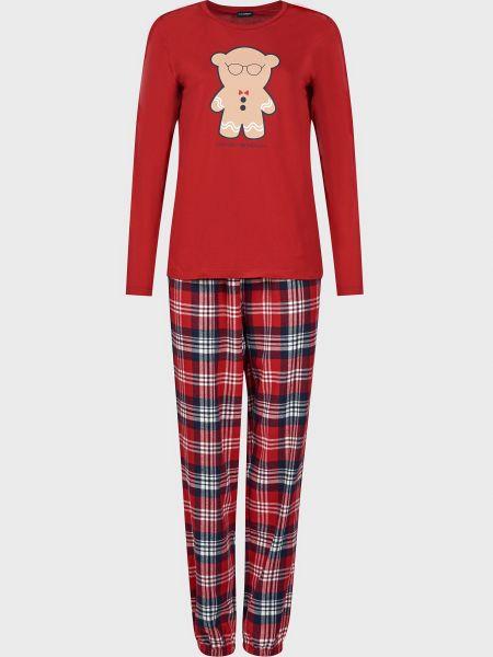 Пижамная красная хлопковая пижама Emporio Armani