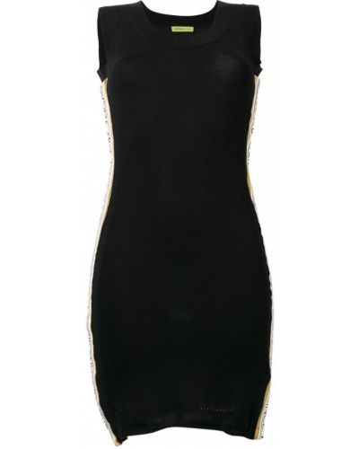 Черное приталенное джинсовое платье сетчатое Versace Jeans