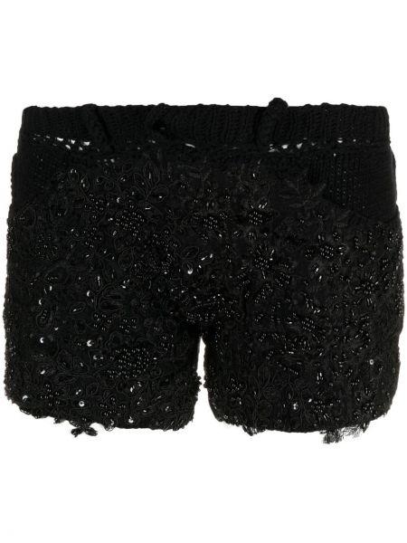 Хлопковые черные вязаные шорты Almaz