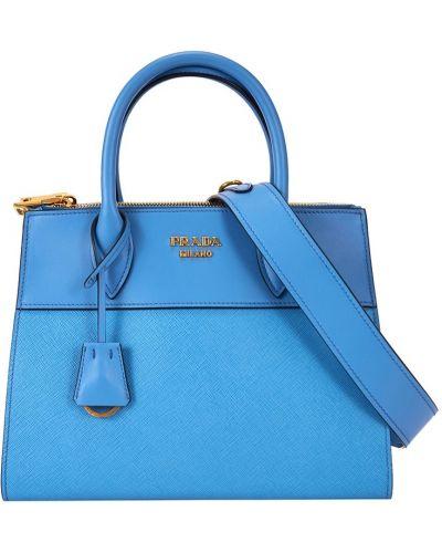 Синяя кожаный сумка Prada