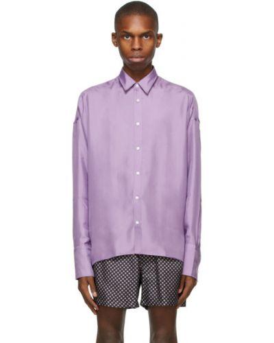 Fioletowy z rękawami koszula z mankietami Boss