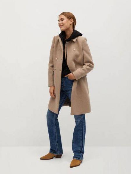 Шерстяное пальто с воротником на пуговицах с лацканами Mango