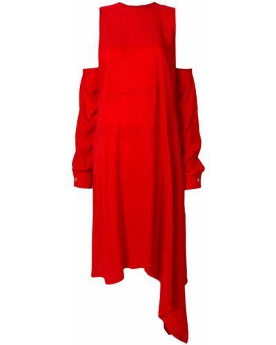 Платье шелковое красный Marios