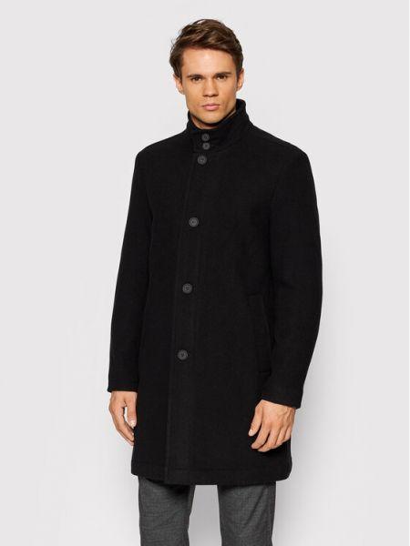 Płaszcz wełniany - czarny Pierre Cardin