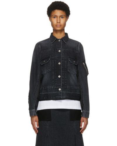 С рукавами утепленная синяя джинсовая куртка Sacai
