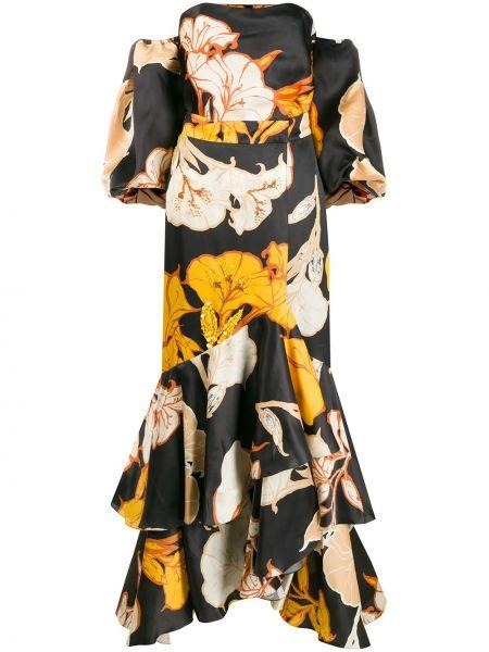 Платье миди с цветочным принтом с открытыми плечами Johanna Ortiz