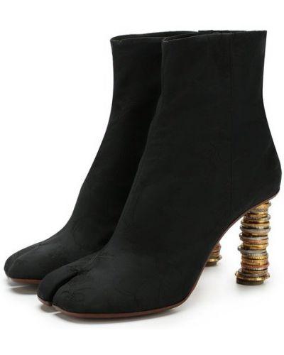 Кожаные ботильоны черные на каблуке Vetements