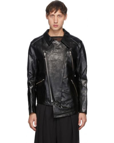 Czarna kurtka skórzana pikowana Sulvam