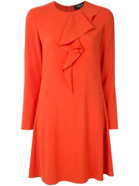 Красное платье мини с оборками с вырезом круглое Paule Ka