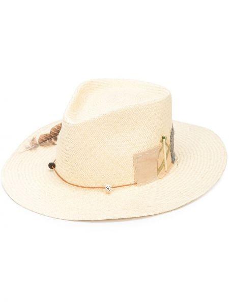 Соломенная шляпа с широкими полями свободного кроя с аппликациями Nick Fouquet