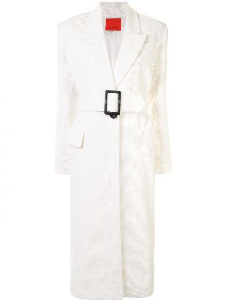Белое длинное пальто с капюшоном с лацканами Manning Cartell