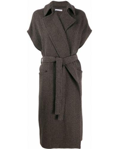 Коричневое шерстяное пальто Dusan