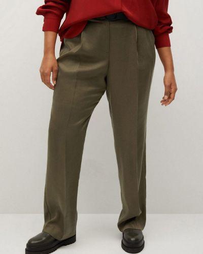 Повседневные брюки хаки Violeta By Mango