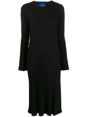 Черное прямое платье миди с вырезом круглое Simon Miller