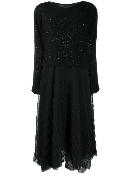 Jedwab czarny asymetryczny sukienka bez rękawów Fabiana Filippi