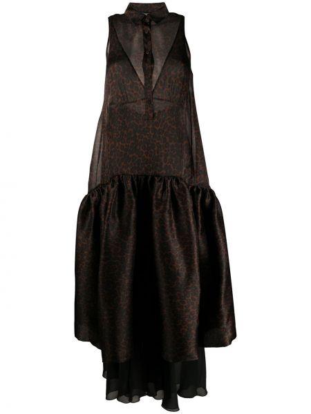 Расклешенное платье макси на пуговицах прозрачное с воротником Simonetta Ravizza
